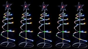 5 x solar led multicolour spiral trees outdoor