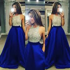 new arrival silver sparkly top and royal blue bottom o neck prom
