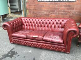 Uk Chesterfield Sofa by Leather Sofa And Chair Burgundy Good Condition Of Idolza
