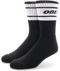 obey cooper deuce black white crew socks zumiez