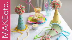 diy how to make a pom pom party hat craft idea for kids u0027 parties