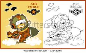vector cartoon animal soldier coloring stock vector 722867851