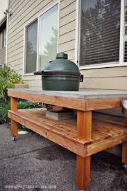 Diy Patio Furniture Cinder Blocks Diy Big Green Egg Table With Concrete Top Gray Table Home