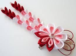 kanzashi hair pin kanzashi flower hair clip with falls pink white fabric