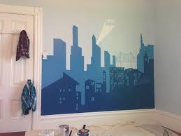 batman cityscape wall mural wall design batman cityscape wall muralbedroom with gotham city mural and brick wallpaper for the batman
