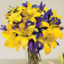 Yellow Lilies Buy Online Yellow Lilies W Blue Iris In A Vase Cebu Gift Delivery