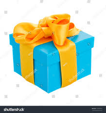 blue and yellow ribbon blue gift box yellow ribbon isolated stock photo 130528277