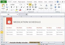 medication schedule organizer for excel