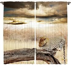 Cheetah Print Home Decor Amazon Com Animal Print Curtains Room Decor By Ambesonne Leopard