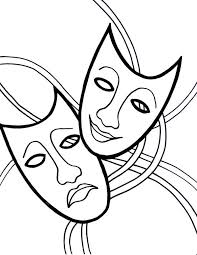 the comedy tragedy mask on mardi gras coloring page download