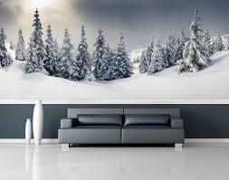snow forest wall mural repositionable peel stick wall paper