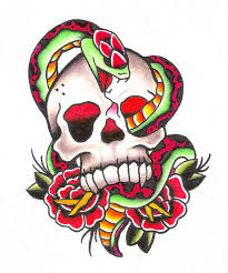 skull and snake tattoo design by jaimie13 on deviantart