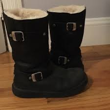 ugg womens boots leather 74 ugg shoes ugg s black leather mid calf boots from