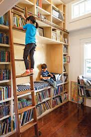 interior stunning kids home library design with ladder and open