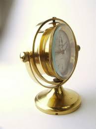 Nautical Desk Clock Vintage Seth Thomas Brass Schooner Articulating Nautical Desk