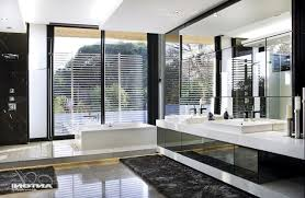 modern rustic master bathroom ideas bathtub dark pattern tiles