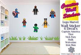 lego wall sticker marvel avengers kids bedroom 6 separate stickers lego wall sticker marvel avengers kids bedroom 6 separate stickers decals amazon co uk diy tools