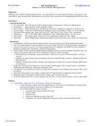 quality assurance resume resume template qa analyst resume sle free resume template