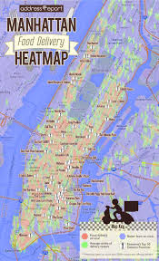 Map Of Manhattan Neighborhoods The Manhattan Food Delivery Heatmap Where To Live In Nyc If You