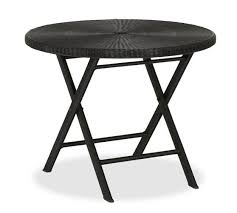 Black Bistro Table Palmetto All Weather Wicker Folding Round Bistro Table Black