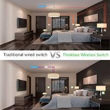 Living Room Wireless Lighting Thinkbee Wireless Light Switch Kit Work With No Battery No Wiring