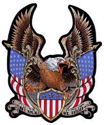Eagles Flag Patriotic Eagle American Flags In God We Trust Embroidered Biker