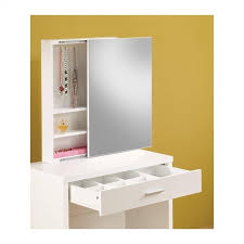 White Vanity Table With Mirror Coaster 2 Piece Vanity Set In White 300290ii