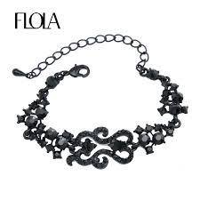 ladies bracelet with images Buy paved rhinestone black charm bracelet ladies jpg