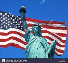 New Yorks Flag Usa New York Freiheitsstatue Und Amerikanische Flagge Stockfoto