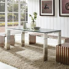 Kitchen And Dining Room Tables Amazon Com Modway Gridiron Stainless Steel Dining Table In Silver