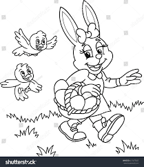 coloring page outline cartoon easter bunny stock vector 617477927