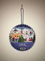 doolittle designs ski resort needlepoint ornament vail