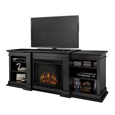 Black Electric Fireplace Real Fresno 72 In Media Console Electric Fireplace In Black