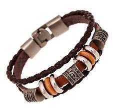 men charm bracelet images Amourjoux handmade retro genuine leather woven charm bracelet men jpg