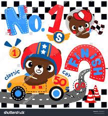 cartoon race car cute bear cartoon driving race car stock vector 496003003