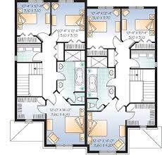 Narrow Lot Duplex Floor Plans by Plan W21486dr Attractive Duplex With Covered Entry E
