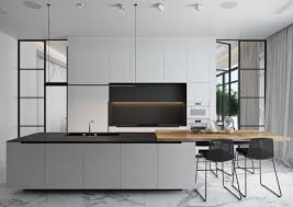 kitchen neutral black and white kitchen features island with light