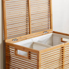 laundry divider hamper bamboo hamper zen divided bamboo hamper the container store