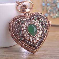 necklace watch vintage images Blucome vintage flower love heart shape necklace crystal resin jpg