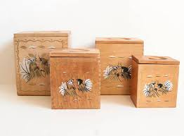 wooden canisters kitchen vintage wood rooster kitchen canisters black and gold chicken