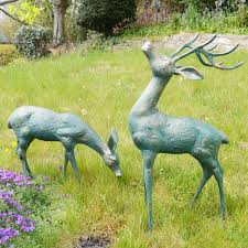 large deer antique bronze statues metal garden ornaments s s shop