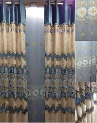 Royal Blue Curtains Light Gold Royal Blue Lace Chenille Curtains