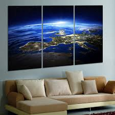 aliexpress com buy 3 panel modern sunrise space universe picture
