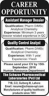 Chemist Resume Pharm D Chemist Jobs In The Schazoo Pharmaceutical Laboratories