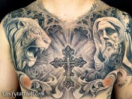 black and gray chest by pepper tattoonow