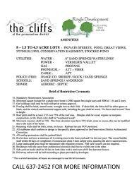 covenants the cliffs ringle development 918 637 2452 100 usda