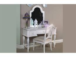 Kid Vanity Table And Chair Furniture White Wooden Girls Vanity Set With Curvy Mirror And