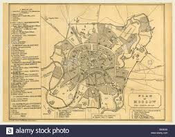 moscow russia map map of moscow russia 19th century engraving stock photo royalty
