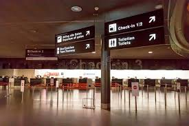check in desk sign check in at airport editorial image image of counter 97529215