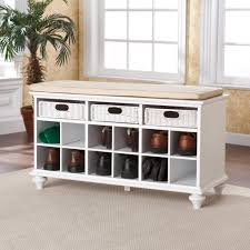 Entry Storage Bench With Coat Rack Mudroom Entryway Bench With 4 Cubbies White Entrance Bench Shoe